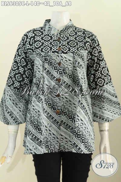 Pusat Upgrade Fashion Batik Online, Jual Blus Kerah Shanghai Keren Monokrom Motif Terkini Proses Cap Hanya 140 Ribu [BLS6305C-L]