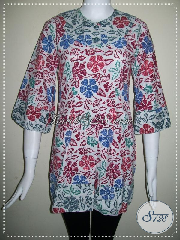 Batik Kerja Perempuan Modern Lengan 3/4, Elegan Dan Keren [BLS631CB-S]