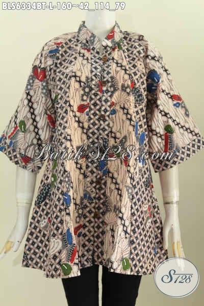 Toko Baju Batik Online, Sedia Baju Kerja Kerah Shanghai Untuk Wanita Karir Model Kerah Shanghai Motif Bagus Kombinasi Tulis [BLS6334BT-L]
