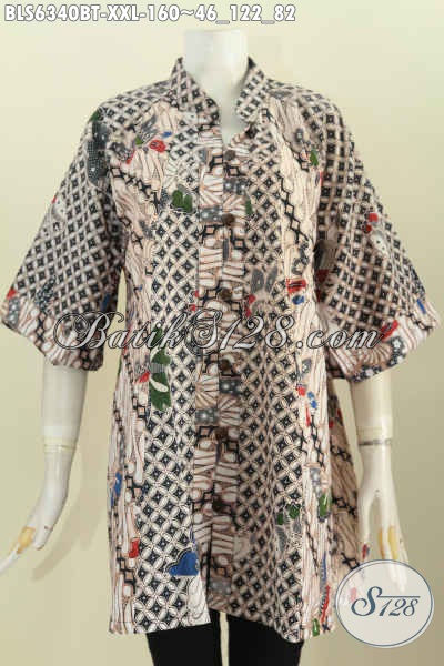 Baju Batik Solo Untuk Wanita Gemuk, Produk Busana Batik 3L Model Kerah Shanghai Motif Kombinasi Tulis Hanya 160K [BLS6340BT-XXL]
