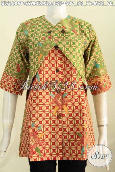 Sedia Baju Batik Koleksi Terkini, Hadir Dengan Mdoel Kombinasi Rompi Yang Bikin Penampilan Wanita Lebih Anggun Dan Menawan [BLS6389P-S , M , L , XL]