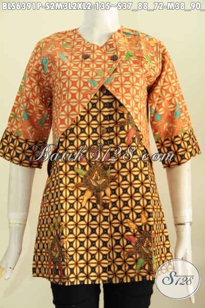 Online Shop BatikPaling Up To Date, Jual Blus Kombinasi Rompi Motif Elegan Proses Printing, Cocok Untuk Seragam Kerja [BLS6391P-S , M , XL]