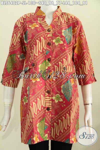 Baju Batik Mewah Harga Murah, Produk Busana Batik Solo Halus Lengan Pendek Model Deck Cocok Untuk Kerja Dan Kondangan [BLS6402P-L]
