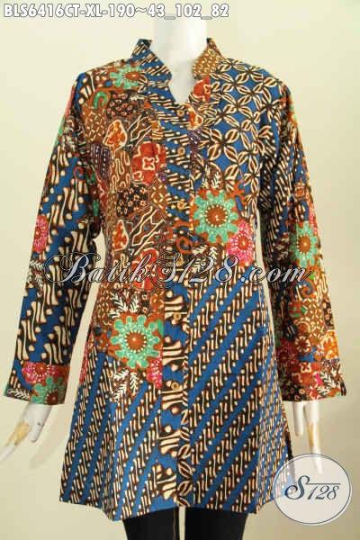 Produk Baju Batik Istimewa Size XL, Blus Lengan Panjang Halus Motif Mewah Proses Cap Tulis Model Rempel Depan Kerah Shanghai [BLS6416CT-XL]