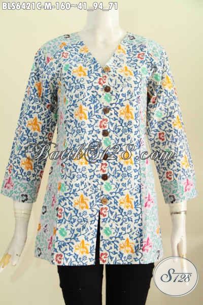 Blus Batik Keren Halus Kombinasi 2 Motif, Baju Batik Solo Untuk Wanita Muda Tampil Gaya Proses Cpa [BLS6421C-M]