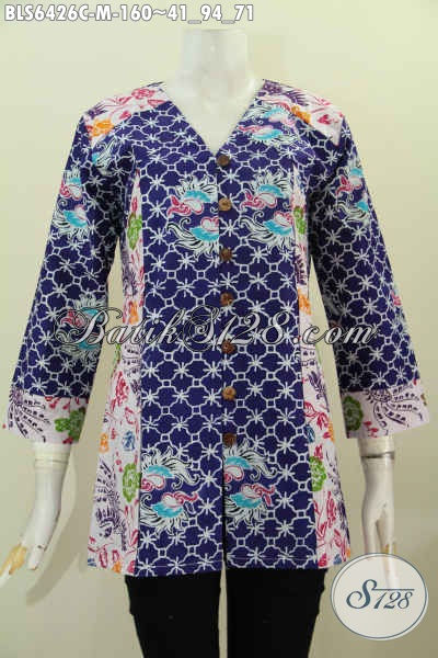 Busana Batik Wanita Karir, Baju Batik Halus Model Kerah V Kombinasi  2 Motif Proses Cap Asli Solo Harga Terjangkau [BLS6426C-M]