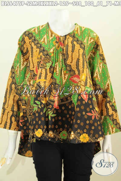 Blus Batik Modern, Busana Batik Wanita Muda Dan Dewasa Desain Keren Motif Elegan Proses Printing Tampil Lebih Mempesona [BLS6475P-S]