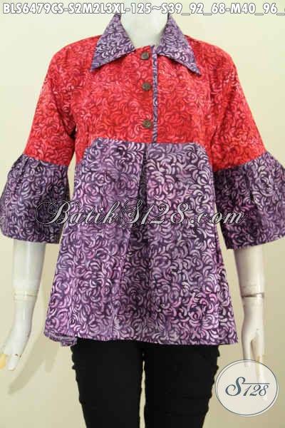 Toko Grosir Eceran Pakaian Batik Wanita Online, Sedia Blus Kerah Lancip Dual Warna Motif Unik Proses Cap Smoke Hanya 125K [BLS6479CS-S , M , L]