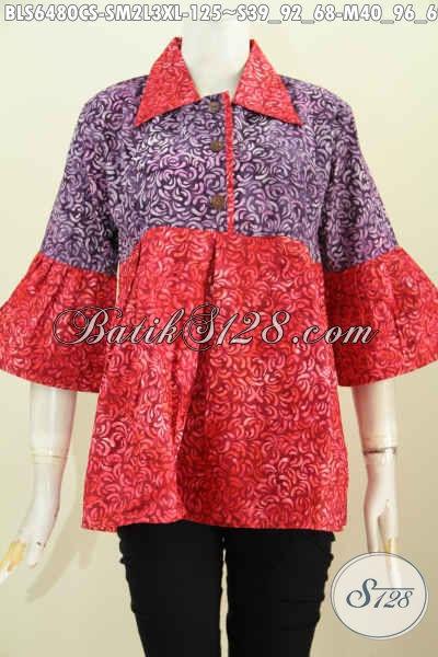 Baju Blus Modern Desain Kera Lancip, Pakaian Batik Trendy Untuk Wanita Tampil Bergaya Dan Cantik [BLS6480CS-S , M , L]