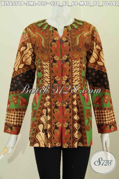 Batik Blus Solo Tanpa Krah, Pakaian Batik Lengan Panjang Halus Motif Bagus Proses Printing Untuk Wanita Muda Dan Dewasa [BLS6551P-M]