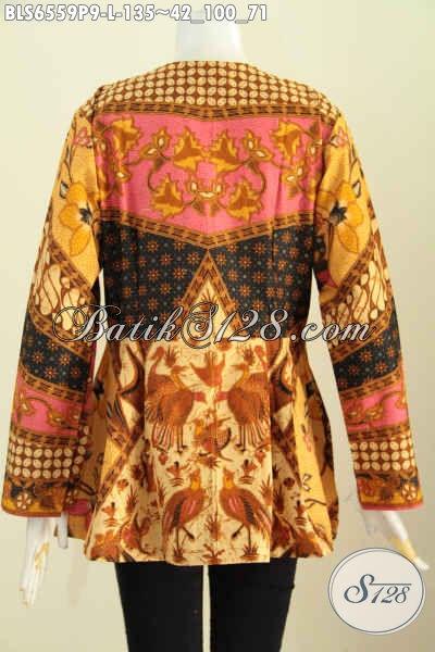 Baju Blus Modern Lengan Panjang Motif Klasik, Produk Pakaian Batik Masa Kini Kwalitas Istimewa Proses Printing Buatan Solo Asli Hanya 135 Ribu [BLS6559P-L]
