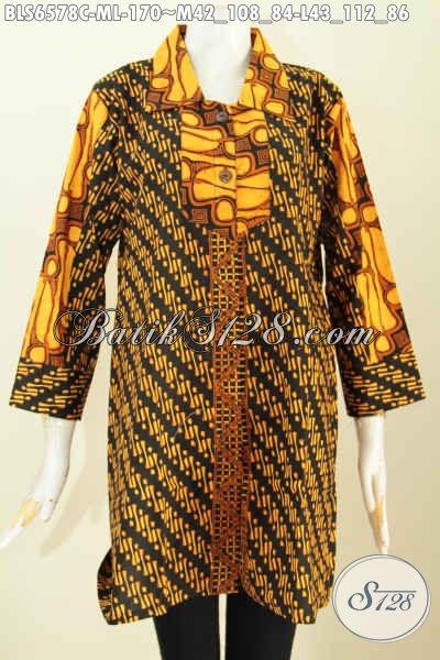Jual Online Batik Blus Terkini, Busana Batik Jawa Halus Kerah Lancip Kombinasi 2 Motif Dengan Warna Soga Tampil Lebih Elegan [BLS6578C-M , L]