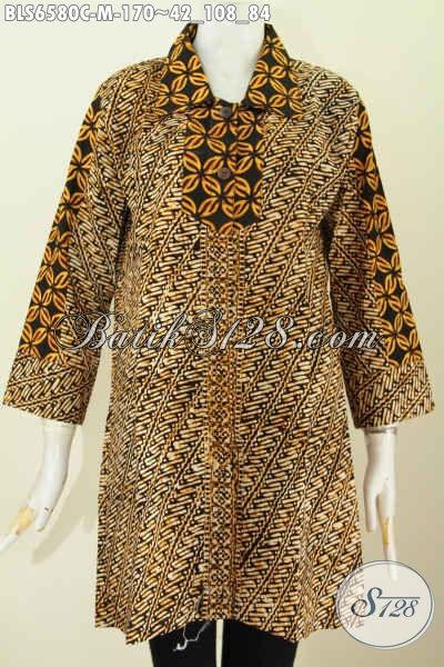 Produk Baju Batik Solo Untuk Wanita Muda Karir Aktif, Hadir Dengan Kerah Lancip Motif Berkelas Proses Cap Warna Soga [BLS6580C-M]