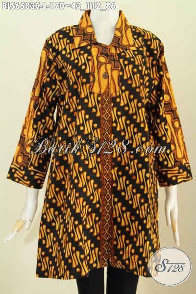 Blus Batik Istimewa Warna Soga, Pakaian Batik Elegan Mewah Harga Terjangkau Kerah Lancip Proses Cap Hanya 170K [BLS6583C-L]
