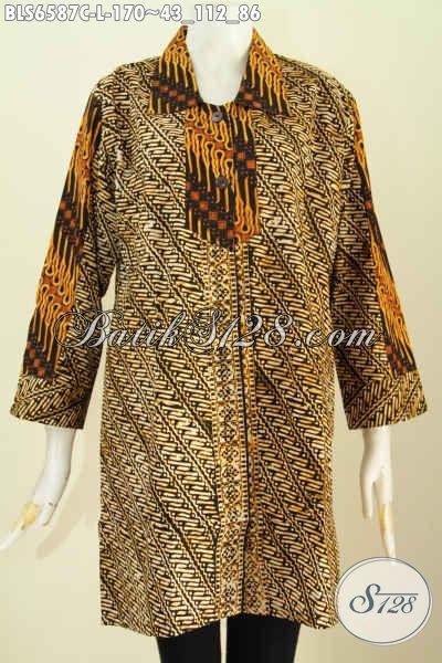 Sedia Busana Kerja Wanita Karir, Baju Blus Halus Proses Cap Motif Klasik Kerah Lancip Cocok Juga Buat Kondangan [BLS6587C-L]