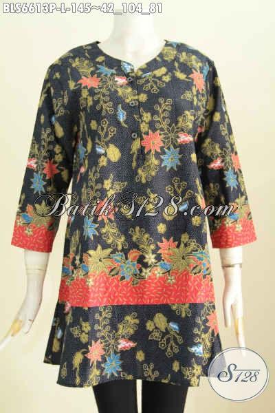 Blus Batik Printing Kerah Paspol Motif Keren Kwalitas Bagus Hanya 145K, Modis Buat Ke Kantor [BLS6613P-L]