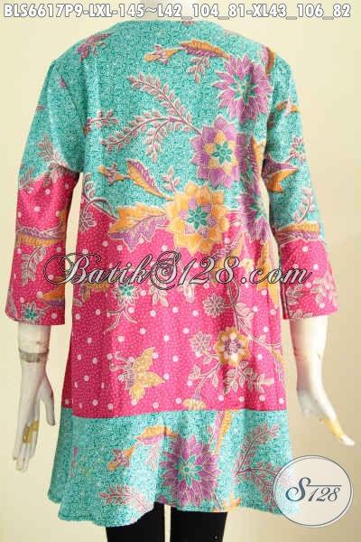 Blus Batik Motif Bunga Kombinasi Dua Warna, Pakaian Batik Modis Desain Kerah Paspol Proses Printing Harga 145, Cocok Buat Santai Dan Resmi [BLS6617P-XL]