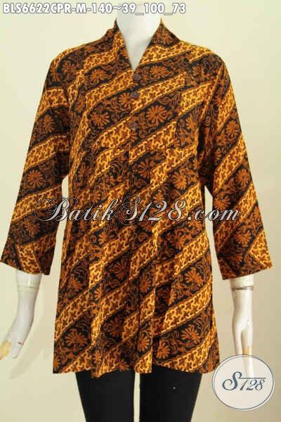 Produk Batik Koleksi Terkini, Blus Batik Paris Motif Klasik Parang Proses Cap Untuk Acara Resmi Tampil Elegan [BLS6622CPR-M]