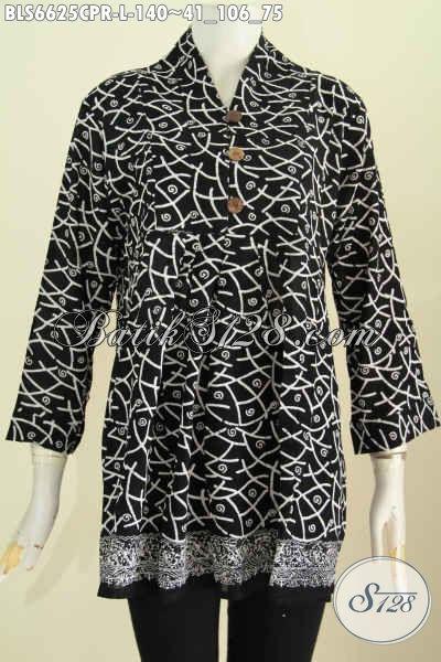 Pakaian Batik Untuk Wanita Tampil Kekinian, Busana Blus Batik Solo Desain Keren Warna Elegan Bahan Paris Harga 140K Proses Cap [BLS6625CPR-L]