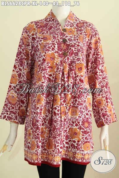Baju Batik Wanita Dewasa, Blus Batik Bahan Paris Motif Bagus Proses Cap Yang Bikin Penampilan Makin Istimewa [BLS6628CPR-XL]
