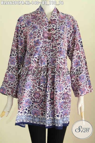 Jual Online Batik Blus Size XL, Pakaian Batik Bahan Kain Paris Motif Trendy Proses Cap Cocok Untuk Kerja Dan Jalan-Jalan [BLS6629CPR-XL]
