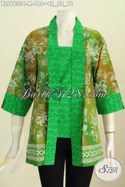 Jual Baju Batik Blus Elegan Model Kerah Kartini, Pakaian Batik Berkelas Bahan Halus Motif Kombinasi Proses Cap Untuk Tampil Menawan [BLS6633C-M]