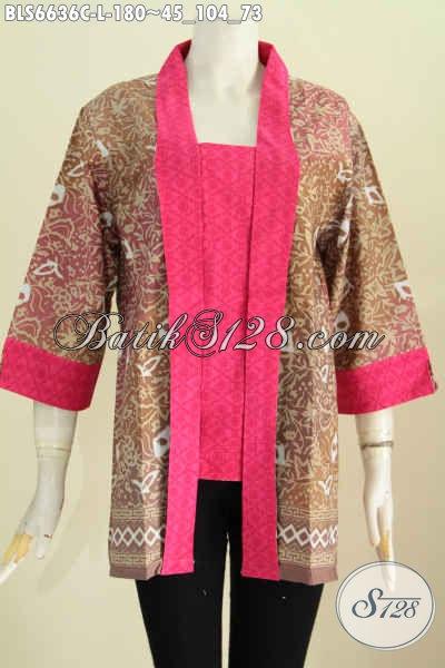 Produk Baju Batik Solo Etnik Motif Elegan Model Kutu Batu, Busana BatikKerah Kartini Untuk Acra Resmi Tampil Mempesona [BLS6636C-L]