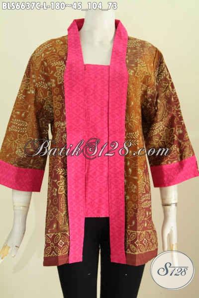 Produk Pakaian Batik Etnik Buatan Solo, Blus Kerah Kartini Nan Elegan Berpadu Bahan Halus Motif Berkelas Harga 180K [BLS6637C-L]