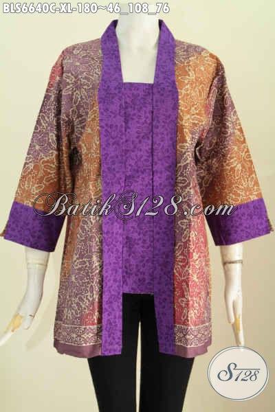 Baju Batik Wanita Dewasa, Blus Batik Kutu Baru Motif Klasik Paduan Kain Polos Ungu, Baju Batik Solo Proses Cap Hanya 180 Ribu [BLS6640C-XL]