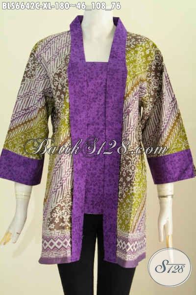 Baju Batik Wanita Dewasa Size XL, Blus Batik Kutu Baru Kerah Kartini Kwalitas Istimewa Proses Cap Harga 180K [BLS6642C-XL]
