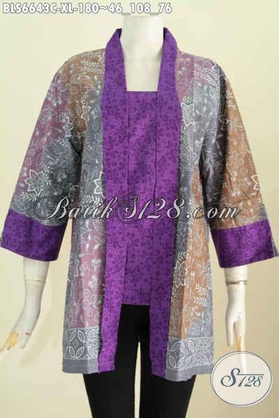 Baju Batik Elegan Istimewa Buatan Solo, Pakaian Batik Masa Kini Model Kerah Kartinii Untuk Kerja Dan Kondangan [BLS6643C-XL]