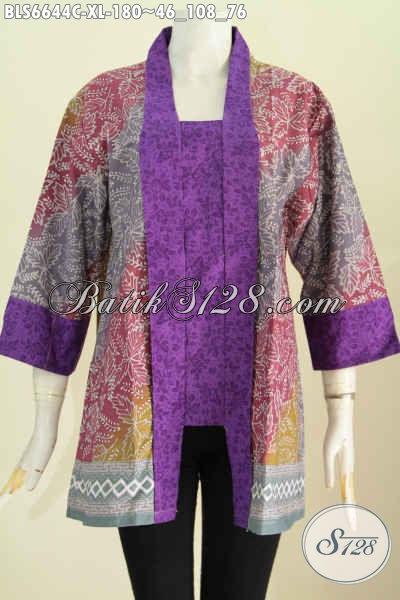 Sedia Baju Batik Kutu Baru Motif Klasik Elegan Paduan Kain Polos Proses Cap Asli Buatan Solo Bikin Penampilan Lebih Anggun [BLS6644C-XL]
