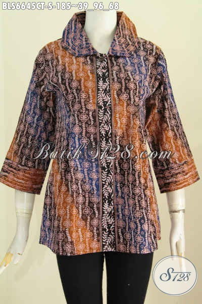 Jual Baju Blus Batik Benang Besar, Pakaian Batik Elegan Cocok Untuk Kerja Kantoran Motif Bagus Proses Cap Tulis Harga 185K [BLS6645CT-S]
