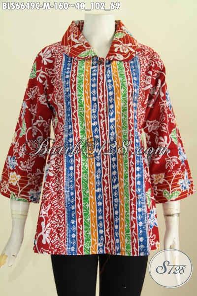 Toko Pakaian Batik Solo Pilihan Komplit, Sedia Blus Benang Besar Motif Bagus Proses Cap, Cocok Buat Kerja Dan Santai [BLS6649C-M]