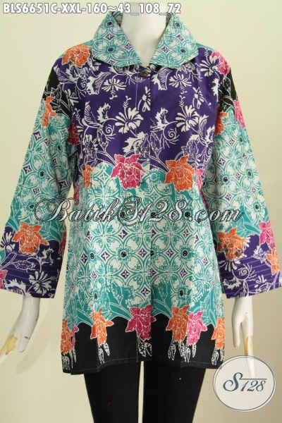 Baju Blus Batik Istimewa Yang Bikin Wanita Gemuk Tampil Beda, Hadir Dengan Desain Benang Besar Motif Terkini Proses Cap Harga 160K [BLS6651C-XXL]