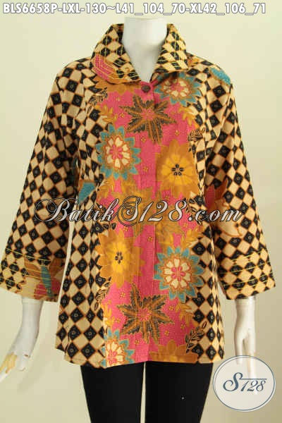 Baju Batik Printing Wanita Dewasa, Blus Batik Benang Besar Buatan Solo Kwalitas Istimewa Motif Kombinasi Proses Printing Di Jual Online 130 Ribu [BLS6658P-L]