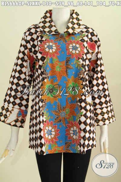 Aneka Baju Batik Buatan Solo Desain Mewah Bahan Adem Motif Terkini Proses Printing, Bisa Untuk Resmi Dan Santai [BLS6660P-S , L]