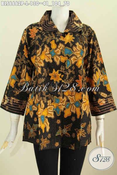 Toko Online Baju Batik Solo, Jual Blus Benang Besar Kwalitas Bagus Bahan Halus Motif Keren Proses Printing, Cocok Untuk Seragam Kerja [BLS6662P-L]