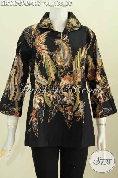 Produk Baju Batik Solo Kwalitas Halus Dasar Hitam Motif Unik Model Lengan 7/8 Pake Kerah Kotak Proses Tulis, Pas Buat Kerja [BLS6674T-M]