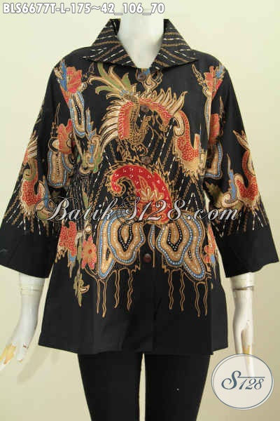 Batik Blus Modis Keren Bahan Halus Proses Tulis, Pakaian Batik Wanita Muda Dan Dewasa Kerah Kotak Tampil Lebih Modis [BLS6677T-L]