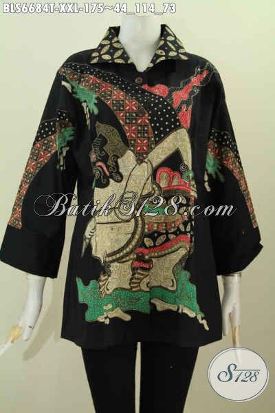 Pakaian Batik Wanita Gemuk, Baju Batik Motif Wayang Semar Proses Tulis Model Kerah Kotak Lengan 7/8 Hanya 175K [BLS6684T-XXL]