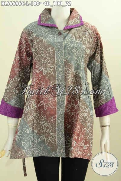 Jual Online Batik Blus Halus Bahan Embos, Pakaian Batik Solo Kerah Plesir Model Bertali Motif Mewah Proses Cap Pas Buat Ke Kantor [BLS6696C-L]