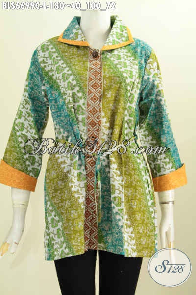 Batik Blus Solo Model Bertali, Baju Batik Kerja Wanita Karir Kerah Plesir Motif Bagus Proses Cap, Cocok Juga Untuk Acara Resmi [BLS6699C-L]