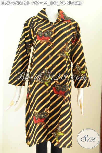 Baju Batik Kerja Wanita Elegan, Busana Blus Batik Solo Model Terkini Motif Mewah Spesial Untuk Perempuan Dewasa Proses Kombinasi Tulis Tampil Lebih Gaya [BLS6766BT-XL]