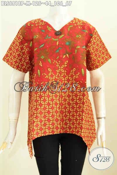 Baju Batik Wanita Kantor Modern, Busana Batik Istimewa Bahan Halus Motif Trendy Proses Printing Hanya 100 Ribuan, Size M [BLS6818P-S, M]