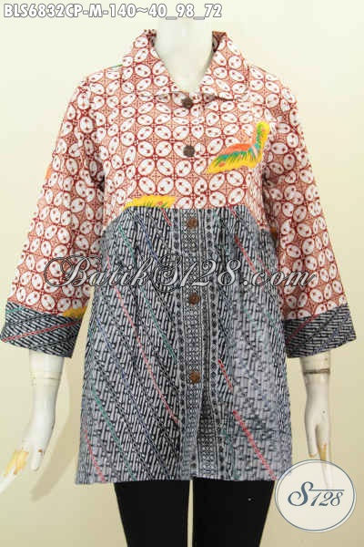 Baju Batik Wanita Santai, Blus Batik Dual Warna Motif Elegan Proses Cap Tulis Pake Kerah Bulat, Cocok Juga Buat Kerja [BLS6832CP-M]