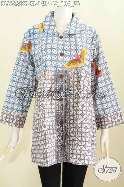 Baju Batik Wanita Dewasa, Blus Batik Modis 2 Warna, Pakaian Batik Wanita Sekarang Pake Kerah Bulat Tampil Bergaya [BLS6835CP-XL]