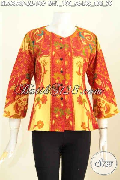 Busana Batik Printing Terbaru, Baju Batik Blus Wanita Sederhana Tanpa Krah Bahan Halus Proses Printing, Pas Banget Untuk Seragam Kerja Kantoran [BLS6858P-L]