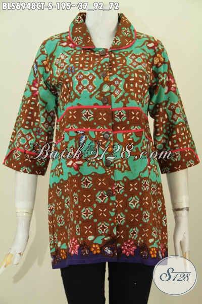 Grosir Baju batik Kerja Wanita, Pakaian Batik Solo Model Blus Kerah Plisir Kain Polos, Motif Bagus Proses Cap Tulis, Tampil Berkharisma [BLS6948CT-S]