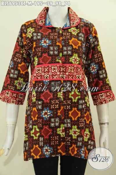 Toko Baju Batik Solo Online, Sedia Baju Cewek Murah Kwalitas Mewah, Blus Krah Plisir Kain Polos Untuk Kerja Dan Santai [BLS6953CT-M]